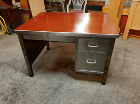 Vintage Industrial Art Metal Steel Desk Stripped and Polished Delivery