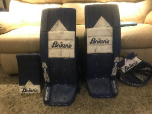 Brians goalie pads and gloves
