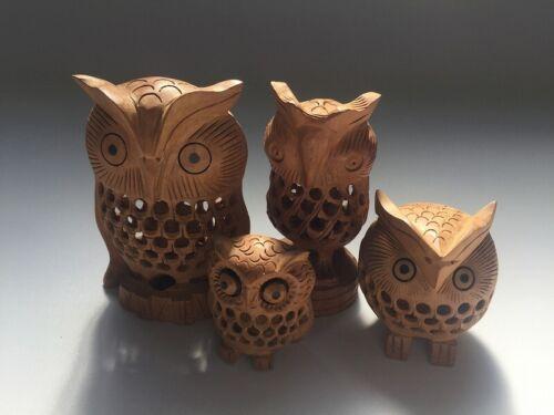 V0907 Japanese Wooden Owl Statue Vintage 4pc Brown Tall & Short Okimono Interior