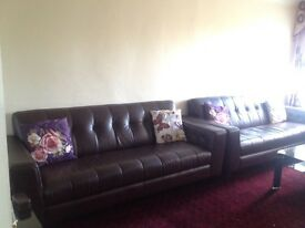 DFS THREE SEATER LEATHER SOFA