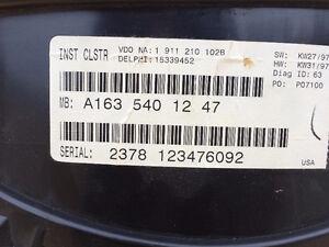 1999-2002 Mercedes ML320 Cluster Speedometer , grill Edmonton Edmonton Area image 2