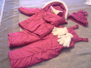 Girls winter jacket, pants + hat and mittens size 2T