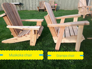 Solid red cedar handmade muskoka chairs since 1987