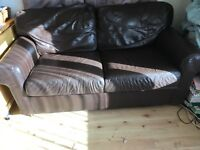 2 brown leather sofas (2 seater)