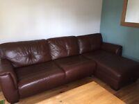 Large leather corner sofa bed