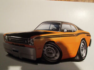 "1972 / 73 Plymouth Duster HEMI Orange Wall Art Picture 11"" X 8.5"