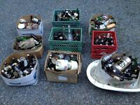 A whole whack of collectible/old bottles/cans