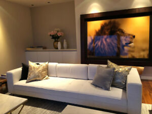 Moving Sale- 9 foot Off White Modern Couch with Gold legs $1000