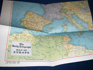 THE DAILY TELEGRAPH MAP OF EUROPE-GEOGRAPHIA-1950/70S-VINTAGE!
