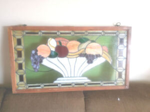 WONDERFUL ANTIQUE STAINED GLASS WINDOW MEASURES 18 X 32.5 INCHES