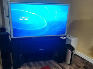 Hitachi Projection TV 46W500 with DVD and stand