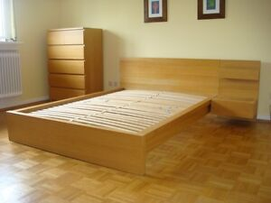 IKEA BIRCH MALM DOUBLE BED FRAME WITH ATTACHED BEDSIDE TABLE