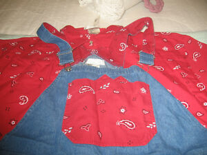 LADIES BIB OVERALS WITH MATCHING CUFFS AND SHIRT 2XL