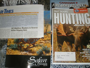 Hunting articles collection and magazines