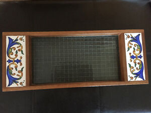 Hand painted wood and glass tray