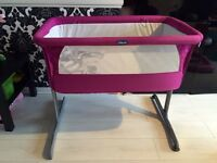 Pink chicco next2me cot crib co-sleeper