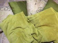 Green throws x2, green cushion x2, green flower cushion x2