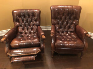 English Leather Wing Back Armchairs