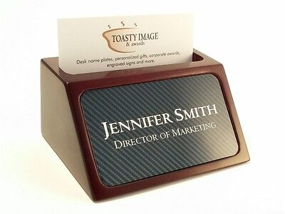 Personalized business card holder for desk wood with carbon fiber look insert ()
