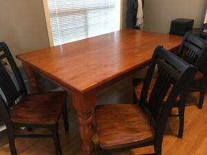 Solid wood table and four (4) chairs