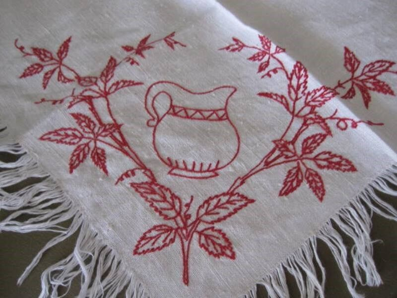 SQUARE ANTIQUE SPLASH CLOTH-Turkey Red Hand-Embroidery-Water Pitcher & Branch