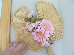 Selling 1 Wicker Wall Hanging with Pink Flowers