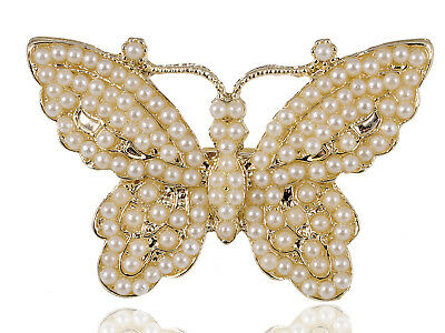 Faux Pearl Beaded Golden Tone Butterfly Spread Beautiful Cute Sized Ring Clr