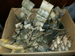 Large collection of boneware/horn and a few sea shell ships