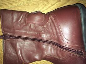 Girls Brown Leather Boots Size 2