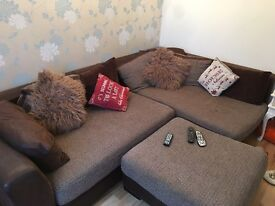 Large DFS 3 and two seater corner with large pufee