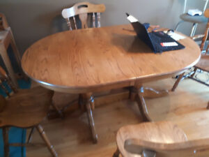 Solid Oak Table and four chairs