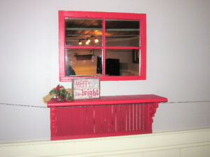 Old Window Frame Mirror & Louvered Shelf