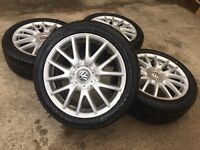 "GENUINE VW 17"" CLASSIX ALLOYS w/NEW TYRES - GOLF JETTA TOURAN CADDY SEAT SKODA - SLOUGH"