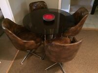 Totally Retro Smoke Glass Table and Vinyl Bucket Seat Table Set