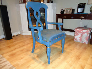 Solid ash painted /reupholstered arm chair