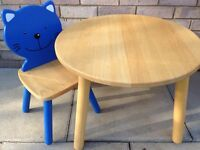 Children's wooden table and chair