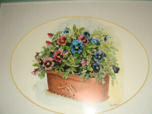 Peggy Abrams Pansy Flower Prints with jade green Wood Frames Regina Regina Area image 3