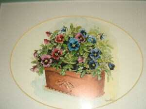 Peggy Abrams Pansy Flower Prints with jade green Wood Frames Regina Regina Area image 3