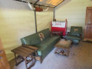 EARLY 1960S WAGONWHEEL LIVINGROOM SET FROM ESTATE