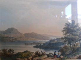 Certified antique fine art lithograph of bala lake by day & hague