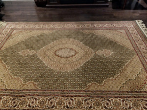Turkish rug 5x7 in olive green