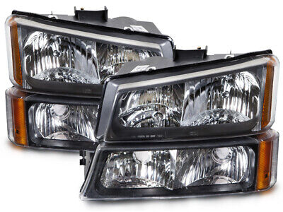 Fits 05-07 Chevy Silverado 1500-3500 4-Pc Black Headlights Set W/ Signal Lights