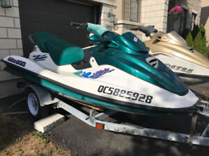 2 seadoo Bombardier gtx and trailer for sale or trade