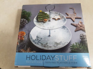 Holiday Snowflake serving platter 2 tier Brand new