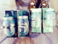Hand -made tinted blue mason jar & holders