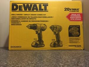 DeWalt Drill/Impact Driver Combo Kit DCK240C2 (NEW)