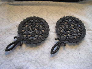Vintage Cast Iron Trivets Canada Forge Hearts