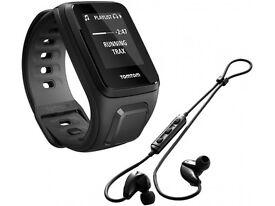 New Tomtom Spark Music Small Black GPS Fitness Running Watch + Bluetooth Headphones