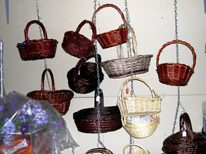 Stock of baskets, various containers, silk flowers