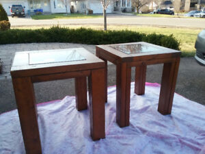 Wood and glass end tables (2)
